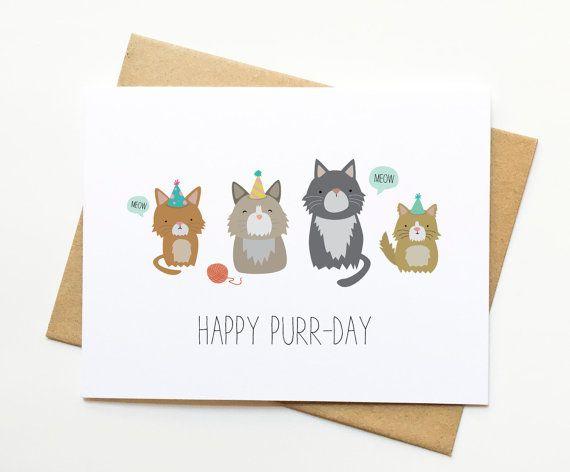 Birthday Card Puns Cat Happy Envelope Dimensions B Day