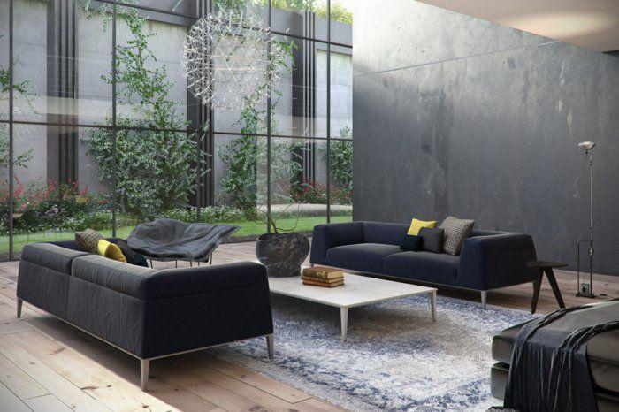 Wohnzimmer Einrichten Beispiele Dunkle Sofas Leuchter Fenster Industrieller Look