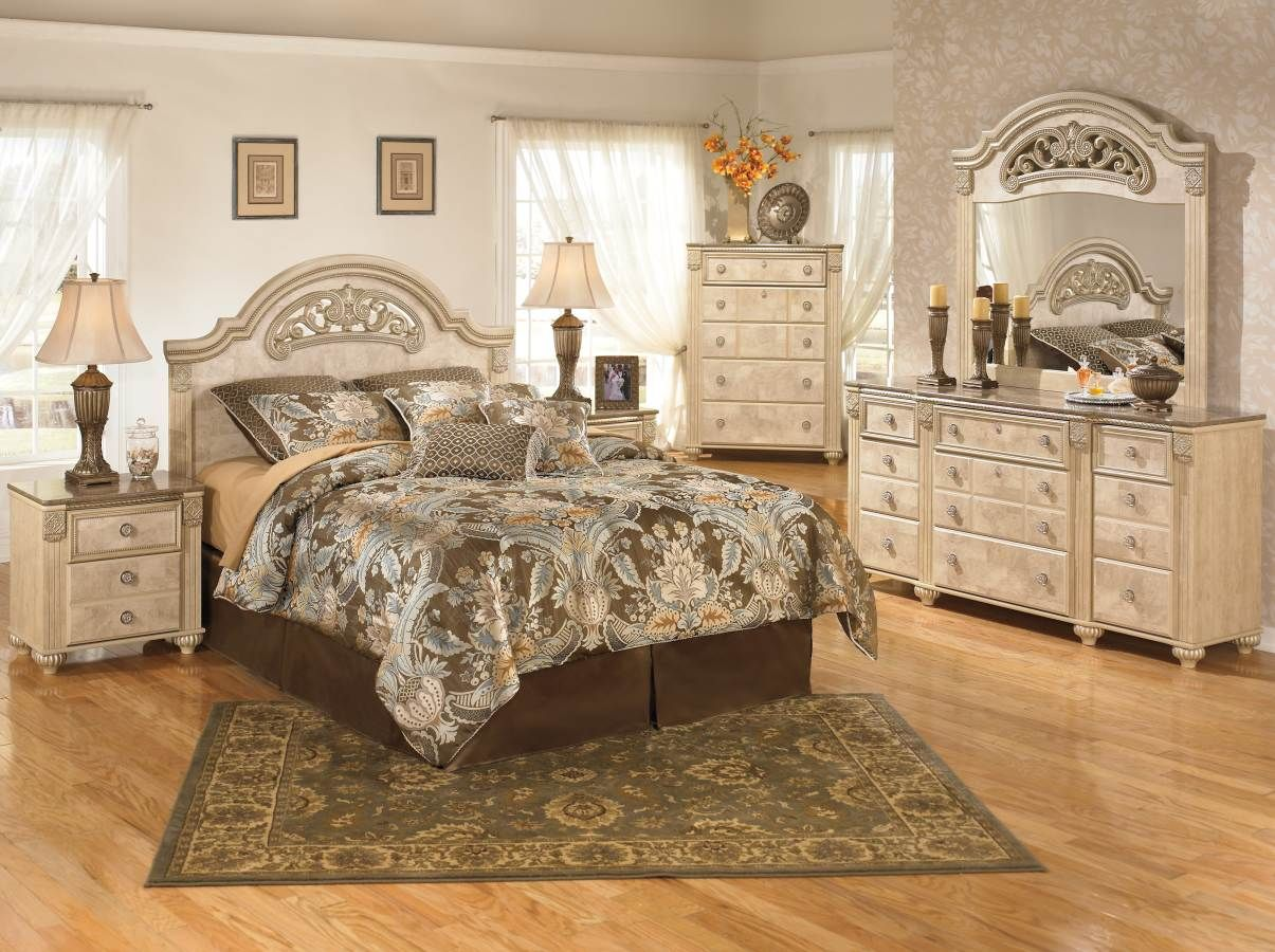Saveaha Light Brown Wood Marble Master Bedroom Set  Bedroom