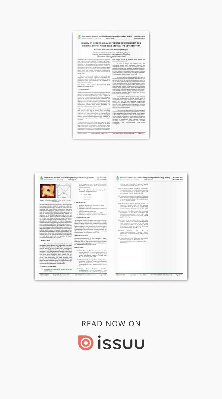 IRJET- Review on Methodology of Furnace Burner Design for