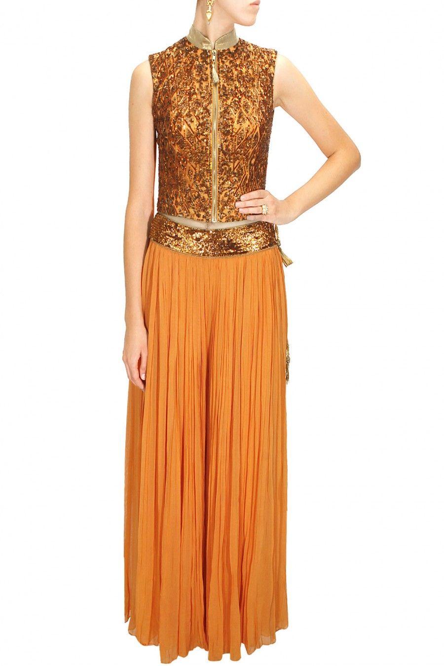 DIVANI Orange palazzo pants with gold sequins blouse | fashion ...