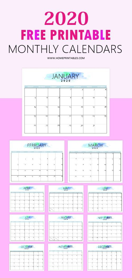 Free 2020 Calendar Printable Simple and Very Pretty! is part of Calendar printables, Free printable calendar monthly, Monthly calendar printable, Free printable calendar, Free calender, Calender printables - Organize your plans ahead  Here's a simple free 2020 calendar printable that you can download instantly  It mimally designed and it looks clean and pretty!