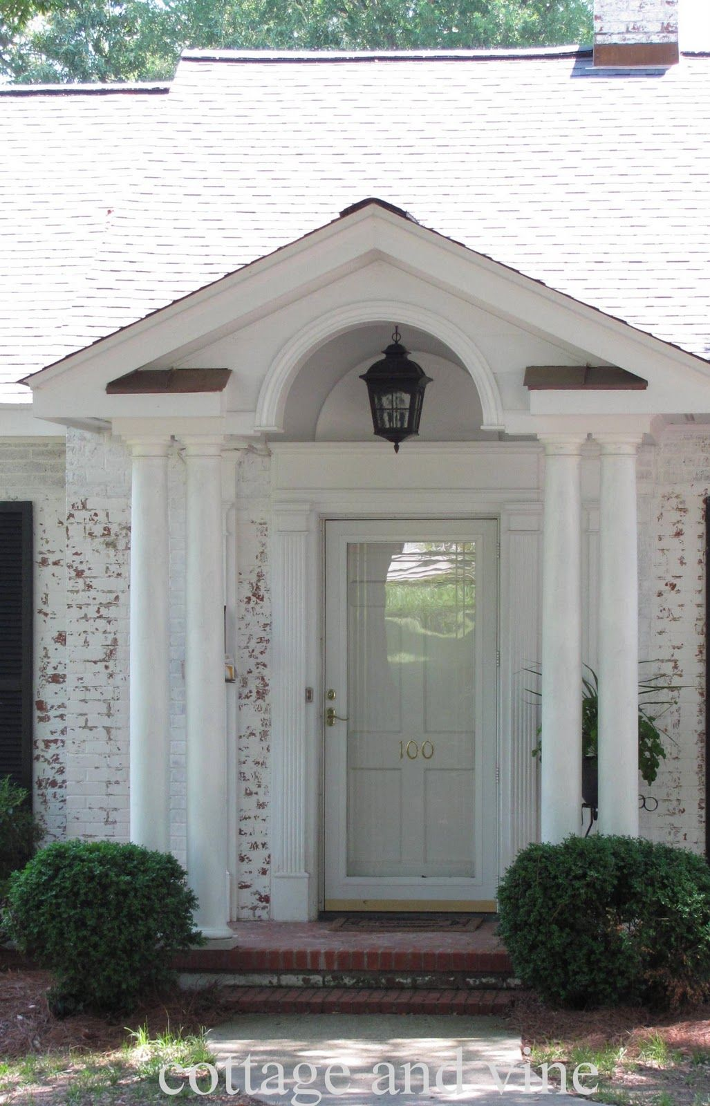 white single front doors. Interior, : Fetching Front Porch Portico Design Ideas With White House Pillar Including Vintage Metal Single Doors O