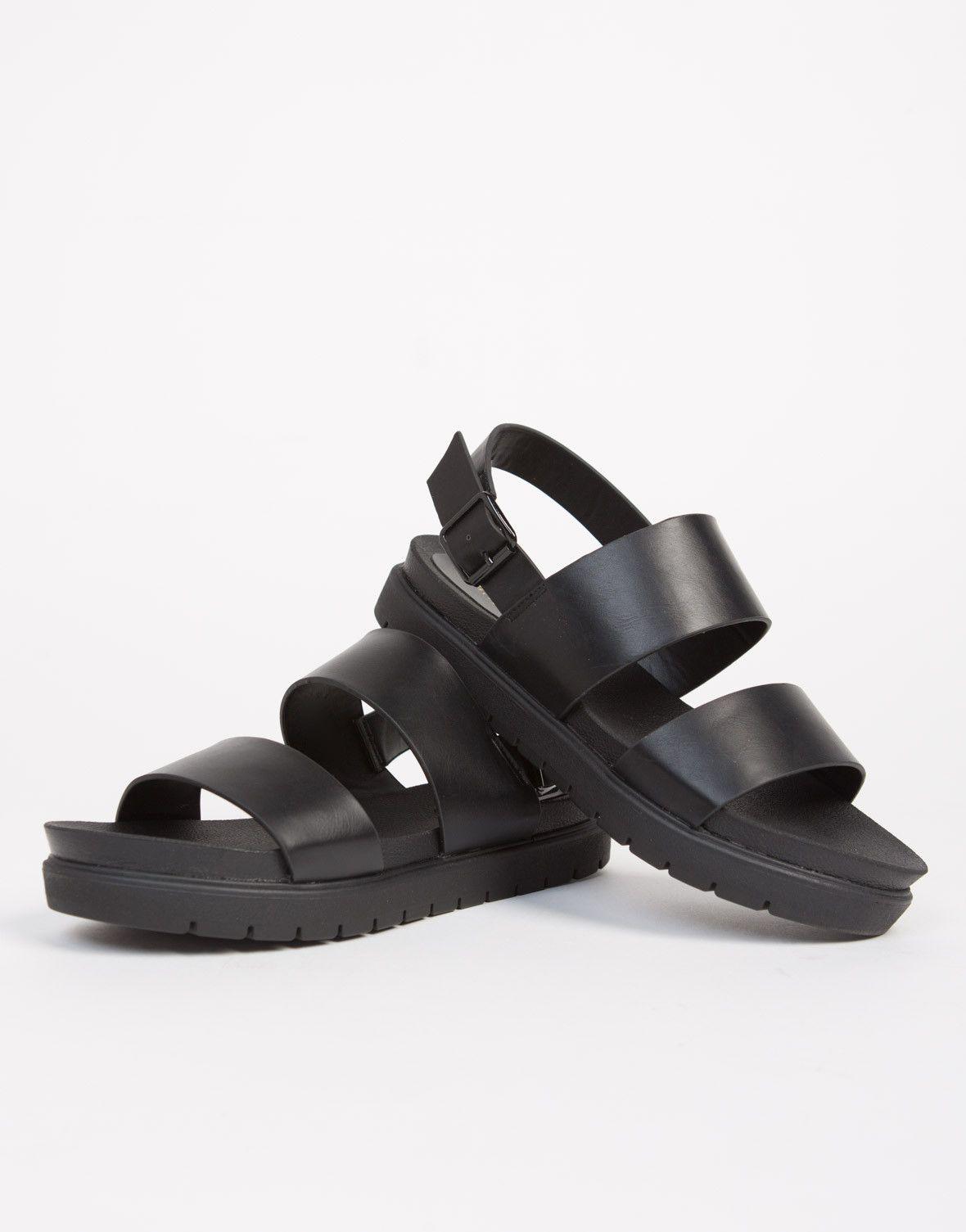 3c53e0d59 Banded Leather Flatform Sandals. Banded Leather Flatform Sandals Black  Platform Sandals