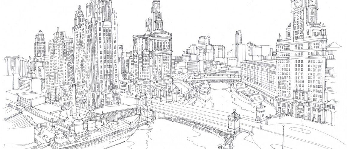 Detailed Fine Line Drawing Cityscape Google Search Adventure Time Coloring Pages Colouring Book For Adults Coloring Books