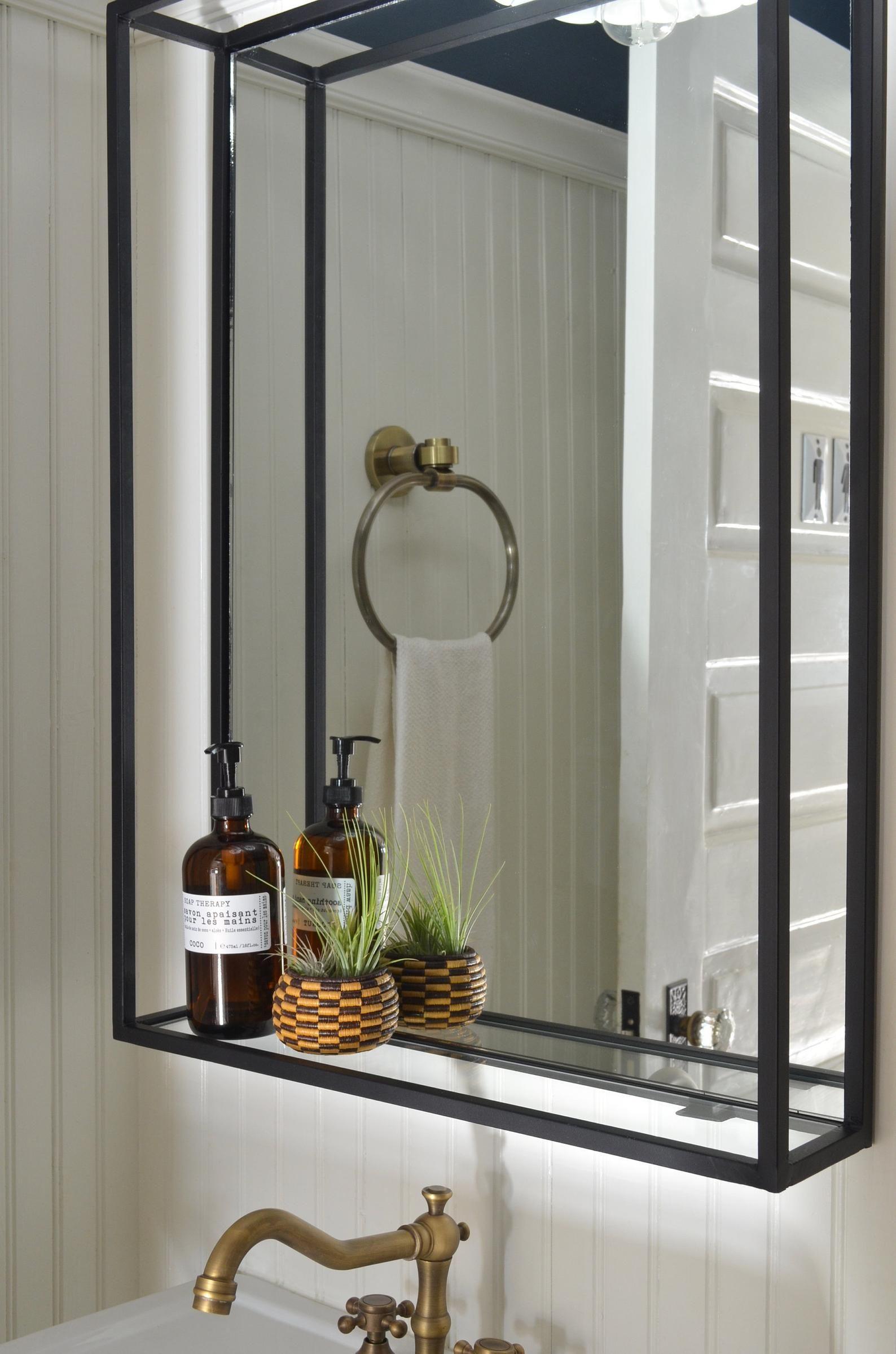 Bathroom Shelf Mirror Modern Industrial Black Steel Metal Framed