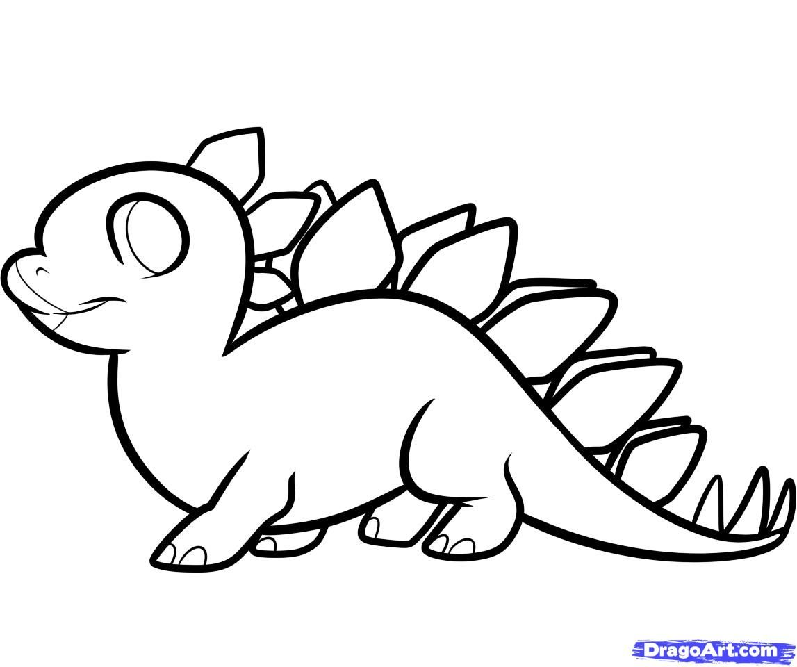 Dinosaur drawings for kids how to draw a stegosaurus for