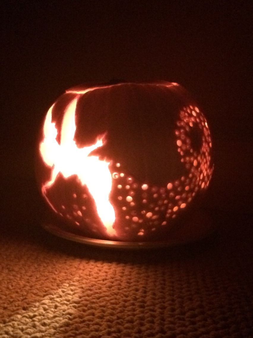 Pumpkin carving ideas tinkerbell no stencils needed halloween