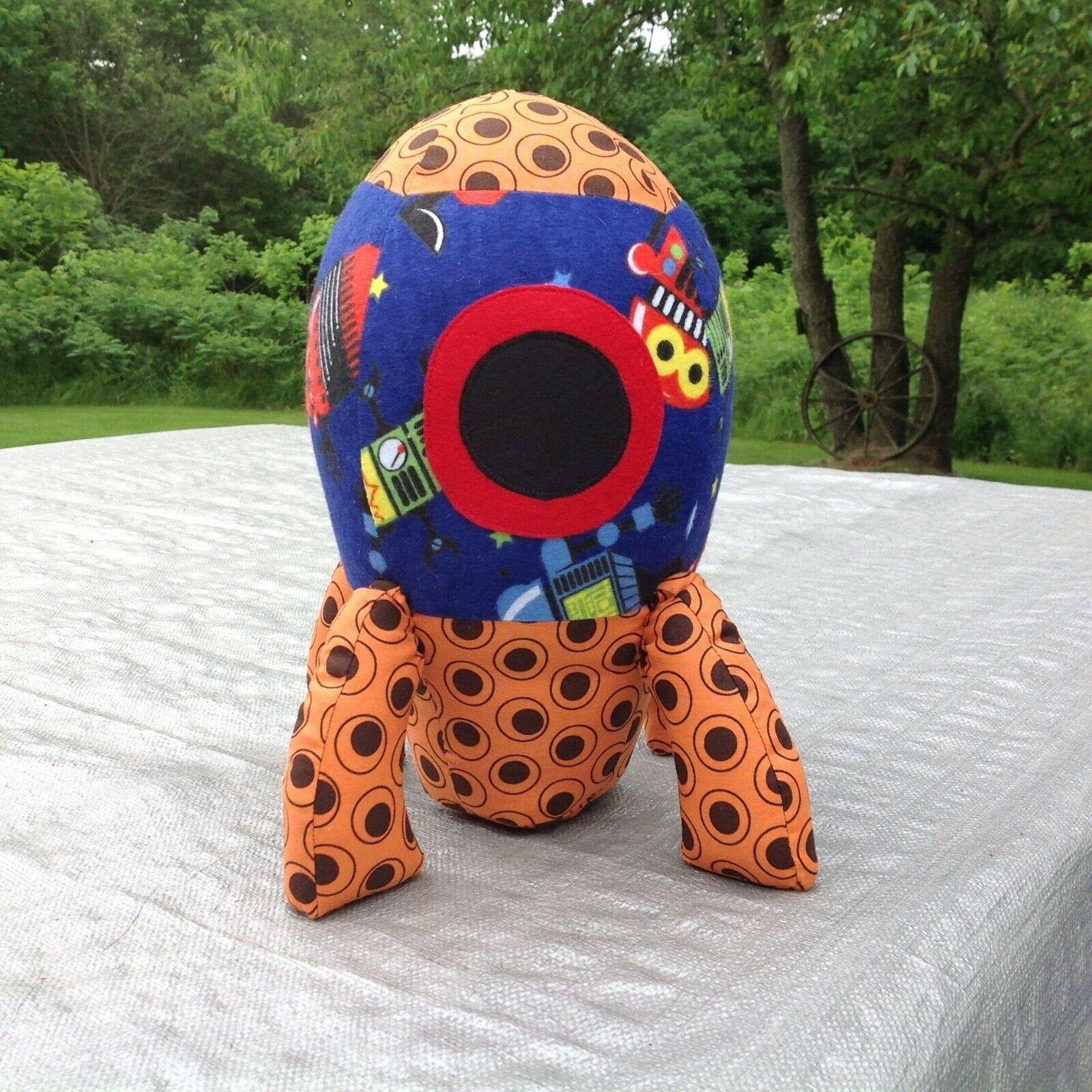 Handmade Rocket Ship Stuffed Toy Plushie Large Stuffie Etsy Pig Stuffed Toy Hanging Quilts Handmade