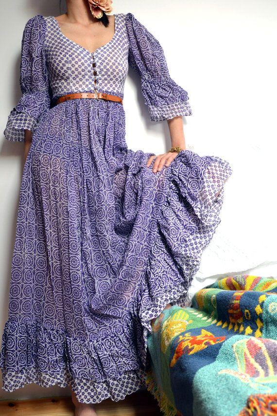 a3e46d6594 70 s Boho Cotton Gauze sheer purple and white floral print Maxi Dress.  Ethnic Festival dress