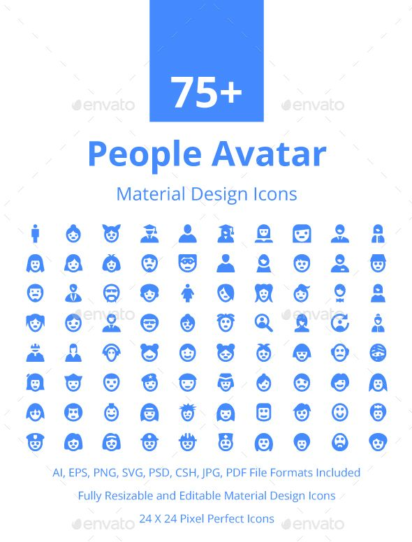 75 People Avatar Material Icons