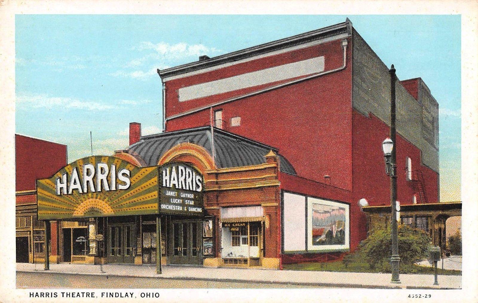 Findlay Ohio Harris Theatre Antique Postcard (J27114