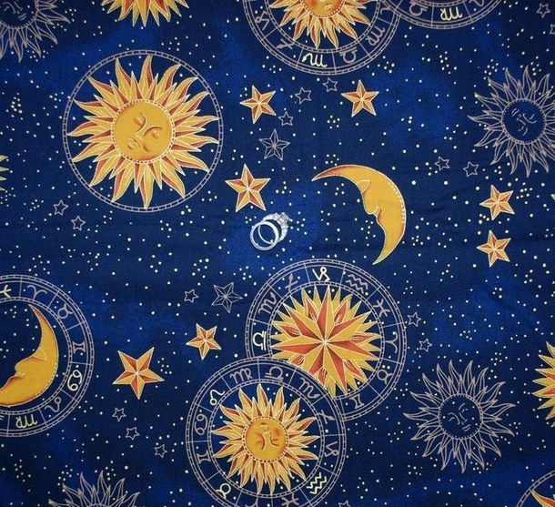 Background Celestial Night Sky Stars Sun And Moon Wallpaper Blue And Gold Moon Decor Ravenclaw Aesthetic Stars And Moon