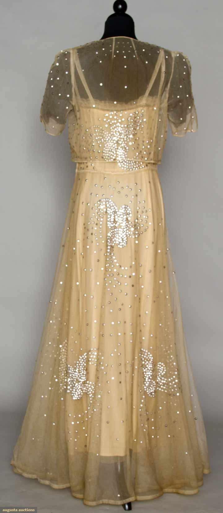 Sequined cream net evening gown c cream cotton net w silver