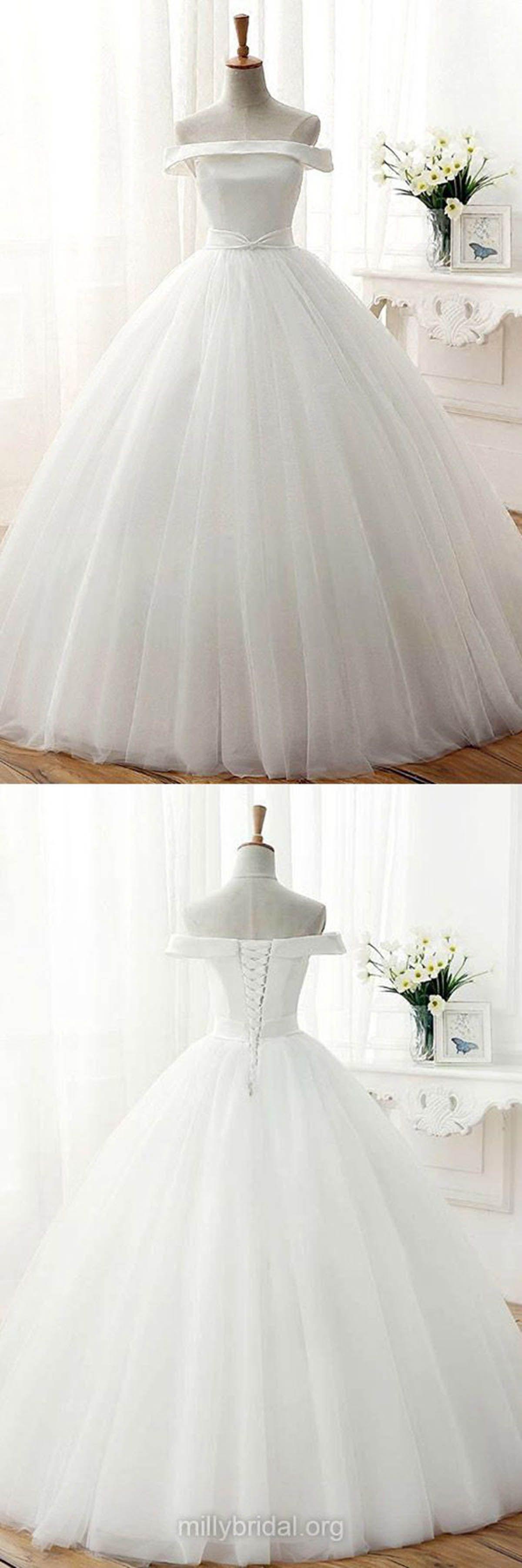 Simple white tulle off shoulder long aline wedding dress white