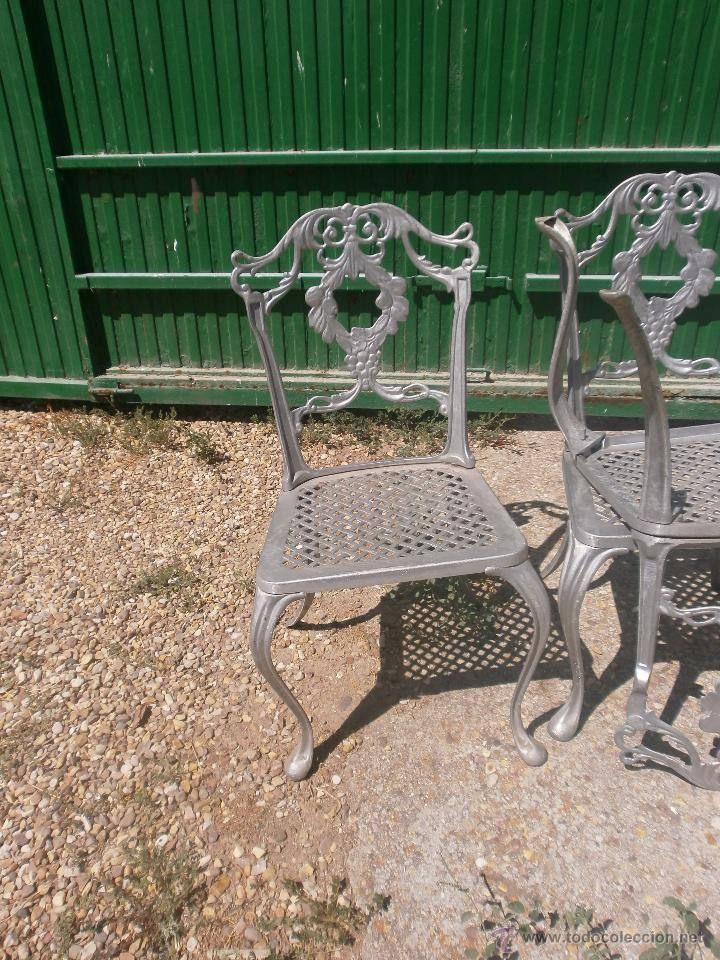 5 sillas de jardin en aluminio fundido color gris, 225 € | Sillas ...
