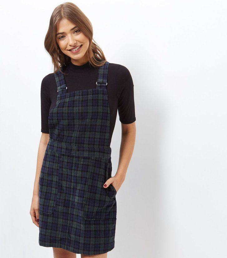 b0152b56b 36 Ways to Get That Back-to-School Feeling New Look Blue Cord Check  Pinafore Dress New Look Blue Cord Check Pinafore Dress (£25)