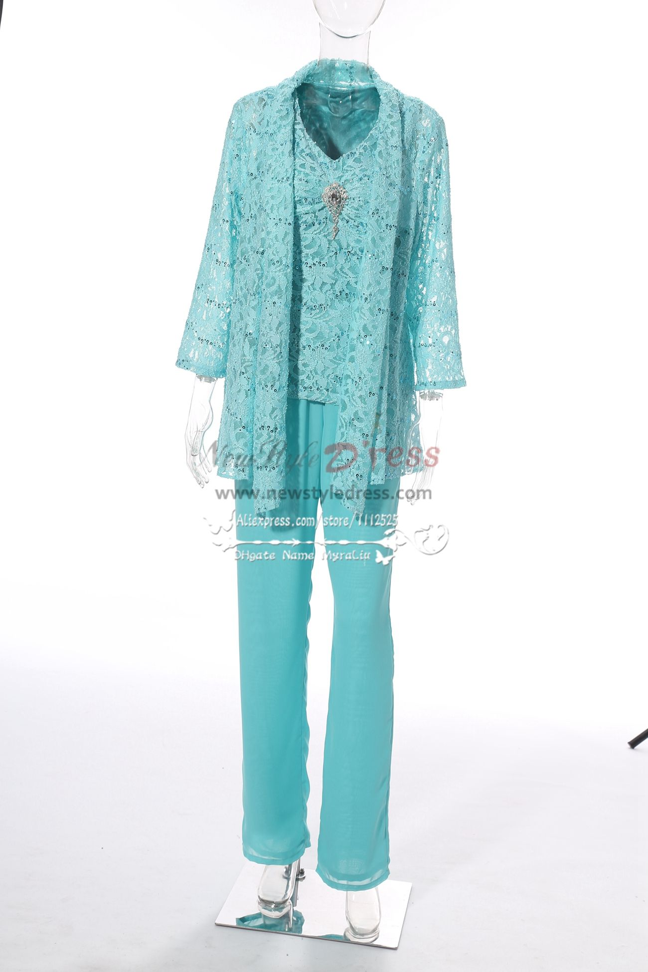 Lace Mother of the bride pant suits with jacket for wedding party ...