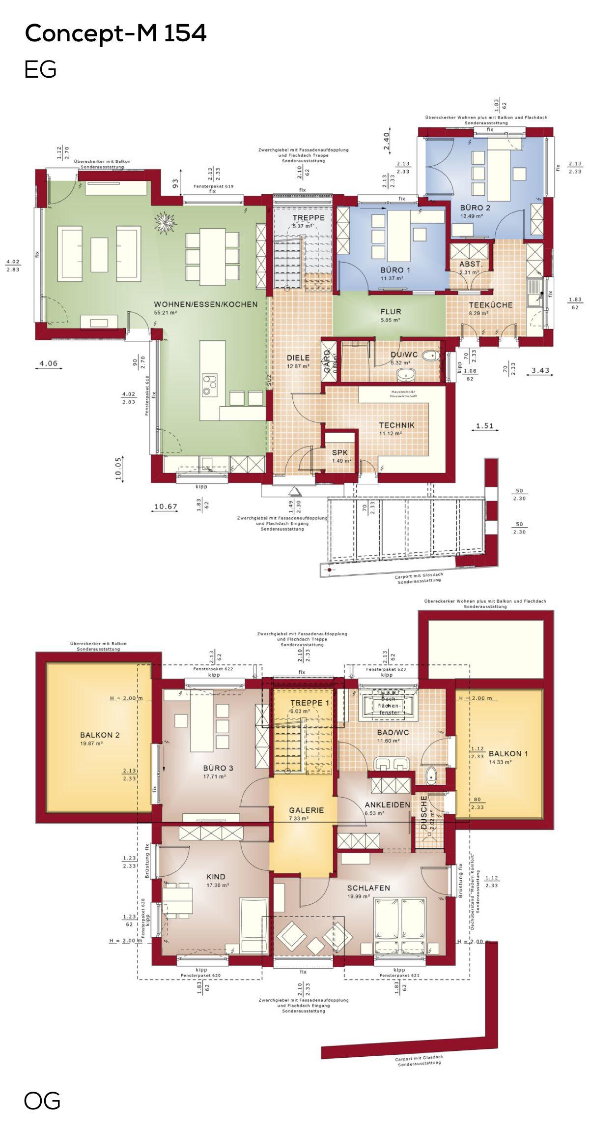 Grundrisse Einfamilienhaus Modern Mit Buro Anbau Und Erker 6