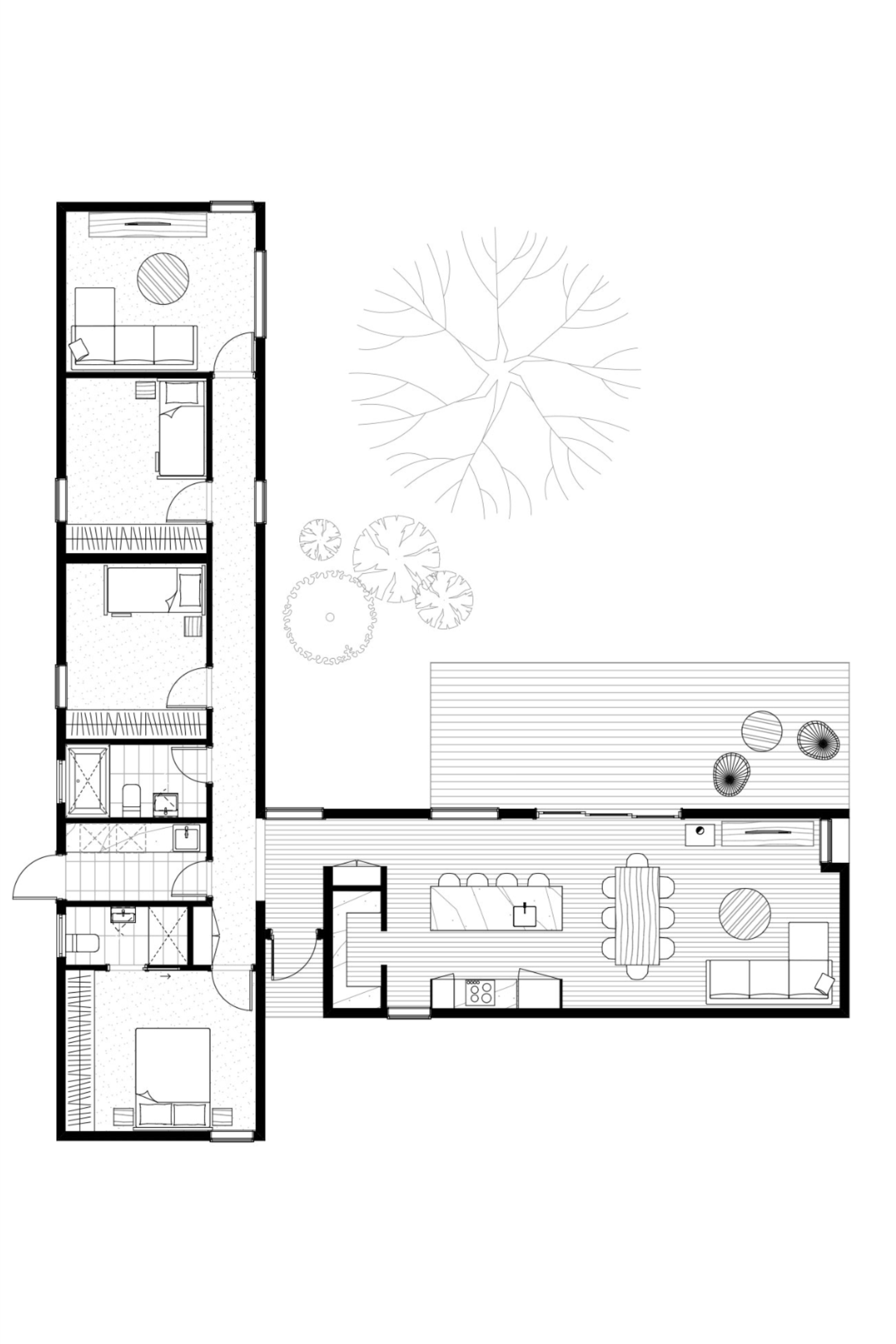 A Modern T Shape Floor Plan Your Family Will Love For Life Bathroomlaundry The Archiblox Axe Floor Plan Design Architectural Floor Plans L Shaped House Plans