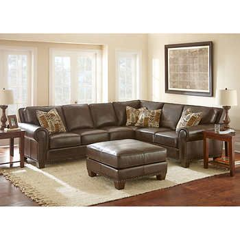 Gavin Top Grain Leather Sectional And Ottoman Leathersectional By Adalyn Home