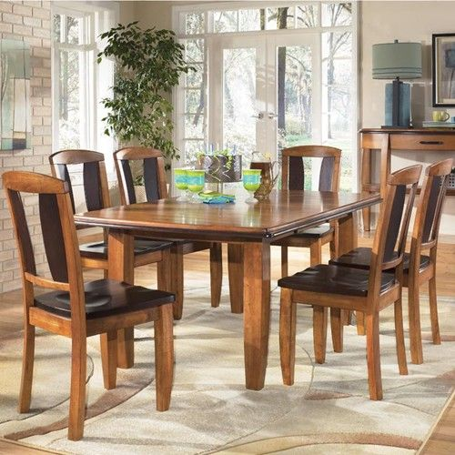 urbandale 7 piece two tone rectangular extension table side chair set by ashley furniture. Black Bedroom Furniture Sets. Home Design Ideas