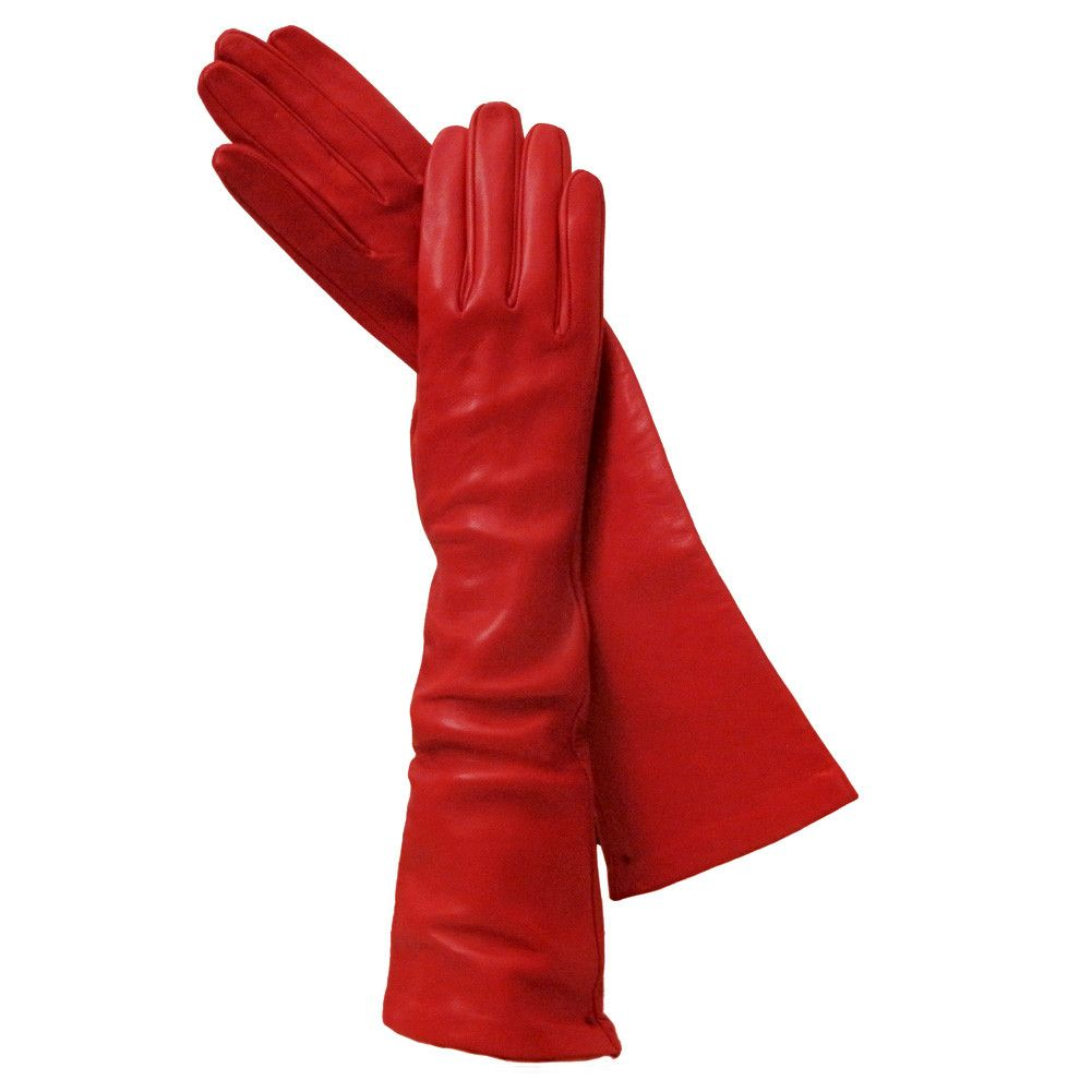 Ladies leather gloves with silk lining - Long Red Italian Leather Gloves Silk Lined 8 Button