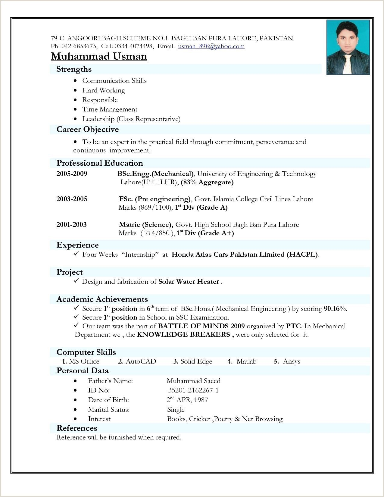 Simple Fresher Resume format Download In Ms Word Simple
