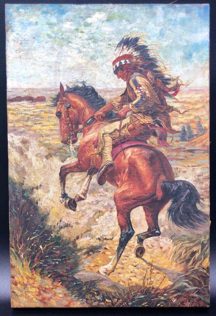 19th Century Antique Original Louis Maurer Oil Painting On Canvas