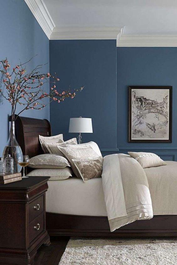 Parete della camera da letto color blu , Le pareti blu sono perfette per la  camera da letto.