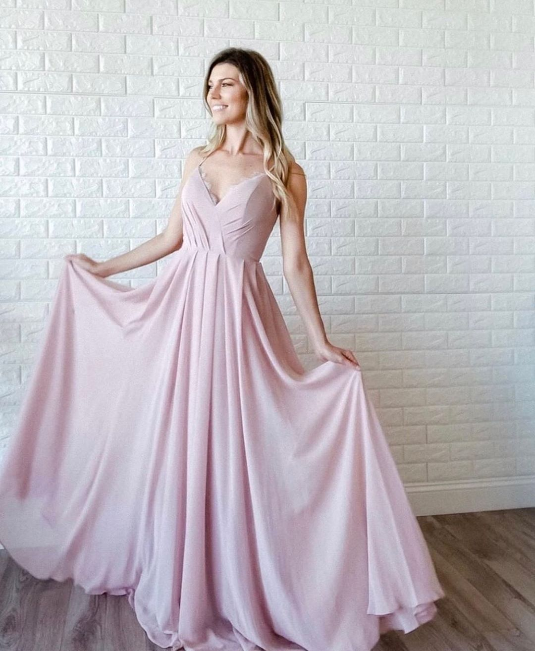 Nude Pink Sweetheart Neckline Long Chiffon Mermaid