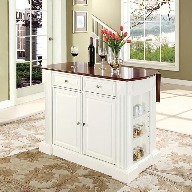 Crosley Drop Leaf Kitchen Island White With Cherry Top | Leaves ...