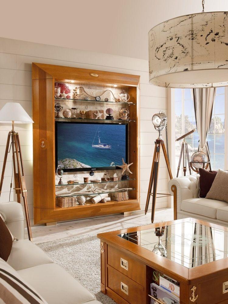 Wohnwand Aus Massivholz Mit Glas Regalen Frame Von Caroti Kitchen