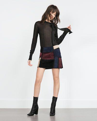 Mini Piel Falda Zara Mujer Shopping fxBnSv