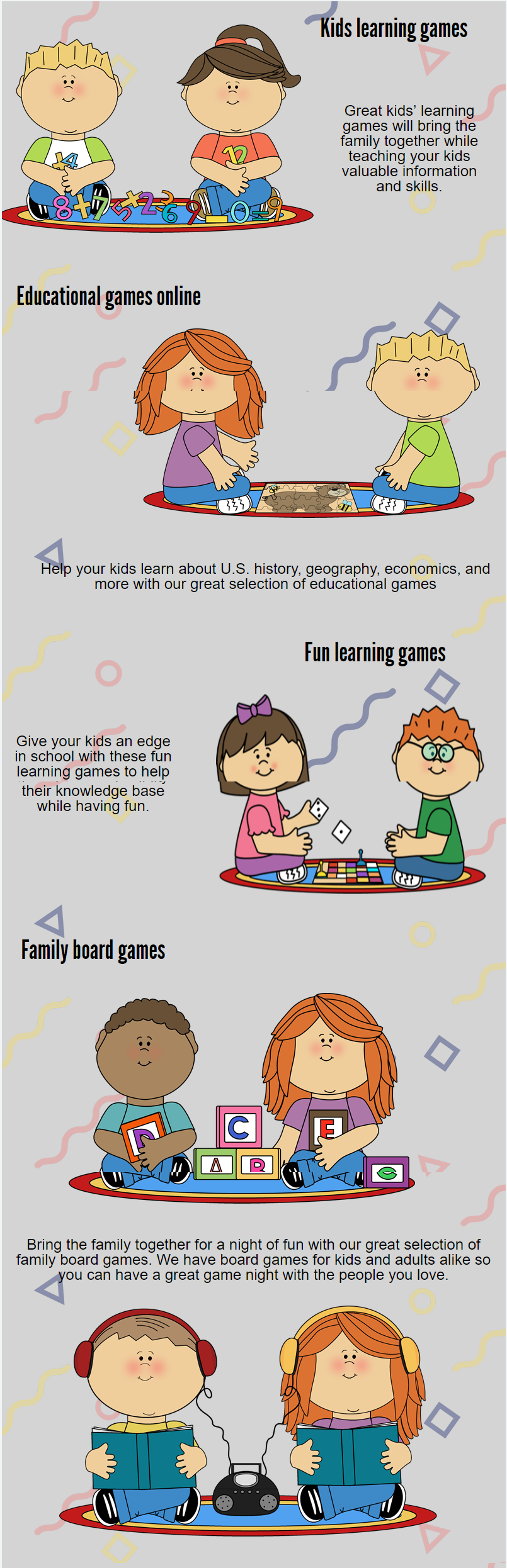 kids learning games will develop the basic learning skills of
