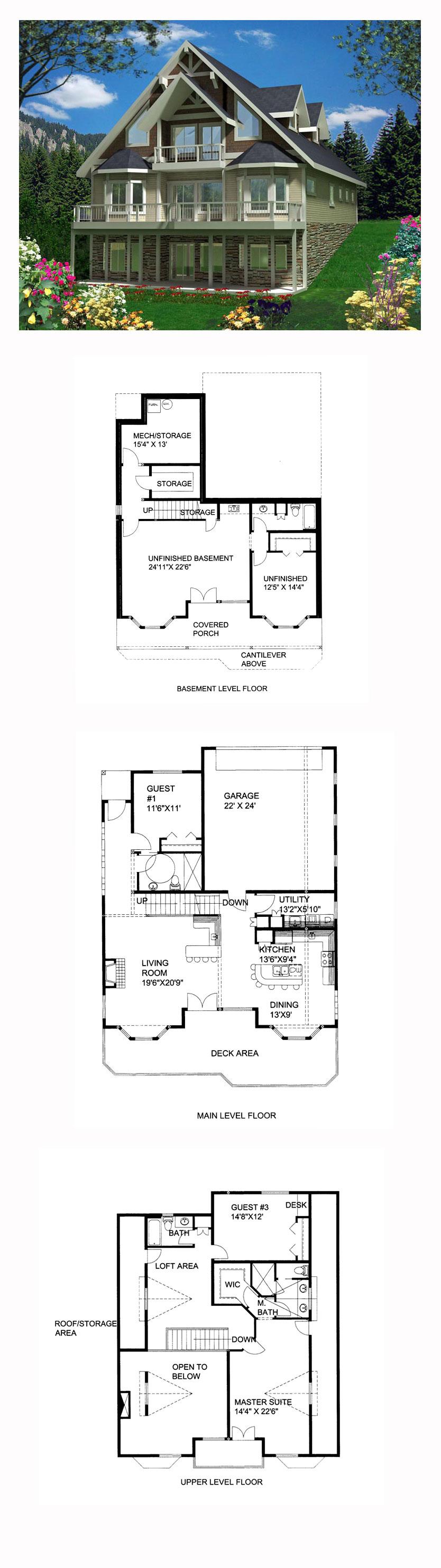 Hillside house plan 85365 total living area 2354 sq ft for Hillside lake house plans