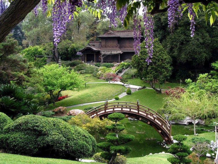 jardin japonais, bassin d\'eau, pont en bois massif et végétation ...
