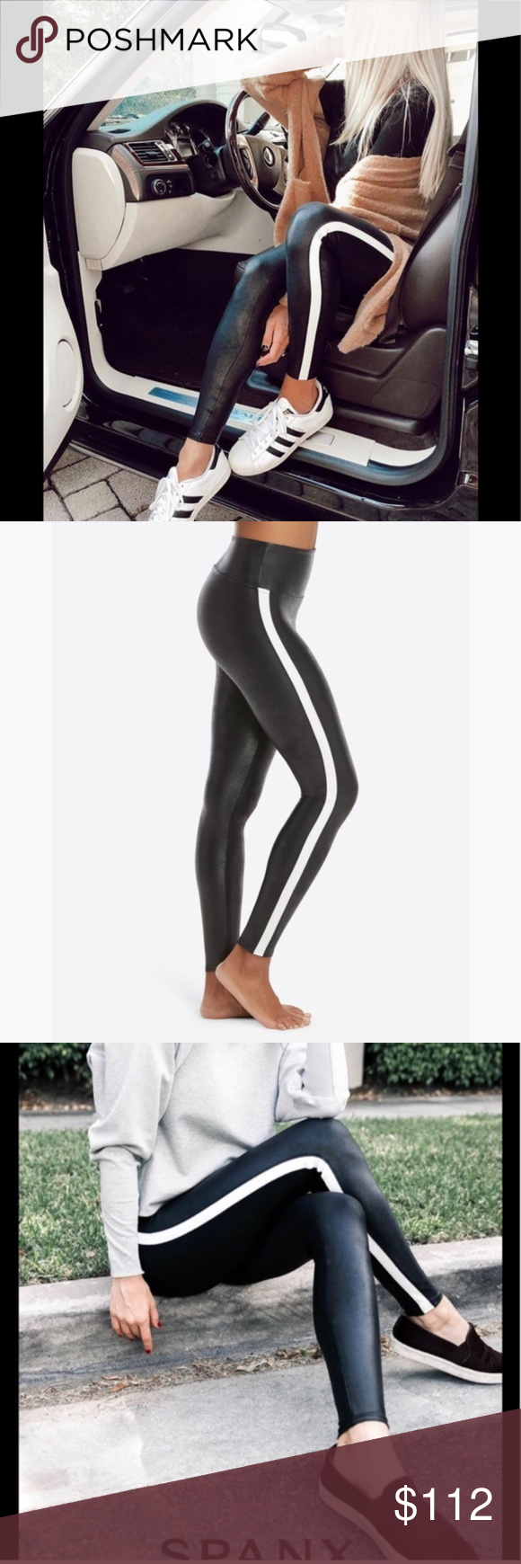 New SPANX Faux Leather Side Stripe Leggings 2X NWT In Faux Leather leggings, you're everyone's asspiration! Designed with contoured Power Waistband, these leggings give you a flat gut & GREAT butt. Camel-toe proof! The flattering high-gloss fabric is a total compliment magnet & keeps you ultra-comfortable all day and night. Once you put them on you'll never take them off…they're that good.   size 2X approx. inseam 27 new with tags color: very black   white designer: Spanx Style 20187P  smoke-fr #stripedleggings