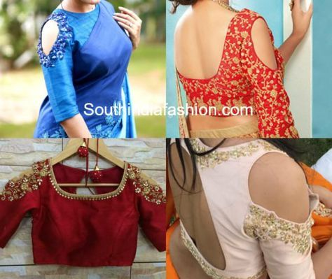 ae940208fb4081 Hottest Trend  Cold Shoulder Saree Blouse Designs