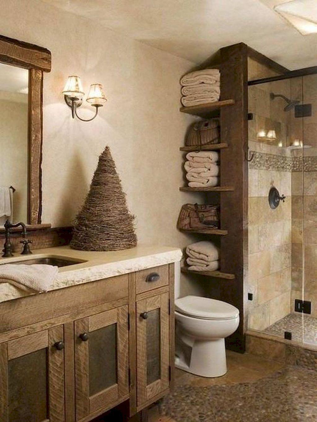 50 Stunning Farmhouse Bathroom Remodel Ideas On A Budget Rustic Bathrooms Rustic Modern Bathroom Small Rustic Bathrooms