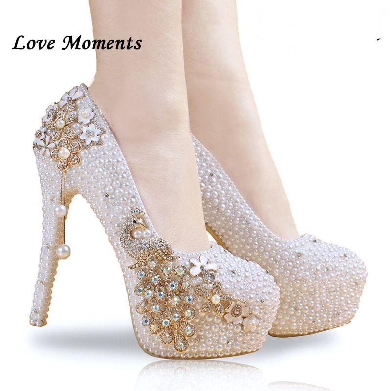 Crystal wedding shoes pearl handmade bridal shoes women s Pumps peacock rhinestone  female high heels platform shoes 5645c8a73555