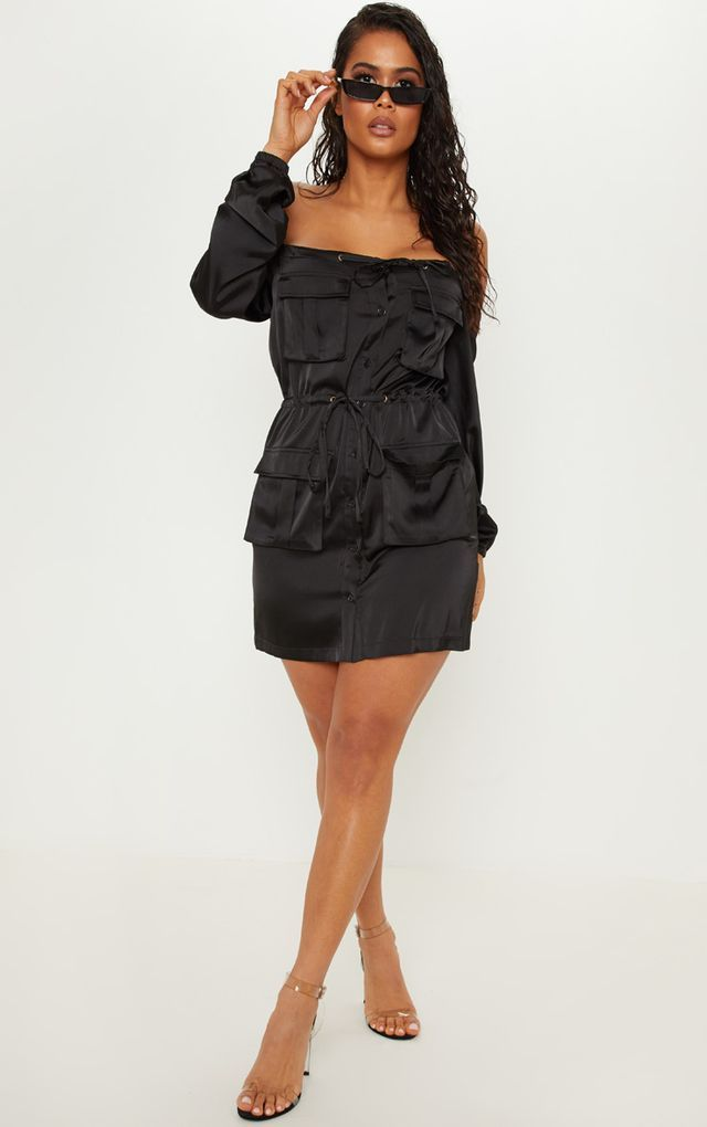 1150d50e14d6 Black Satin Utility Bardot Shift Dress