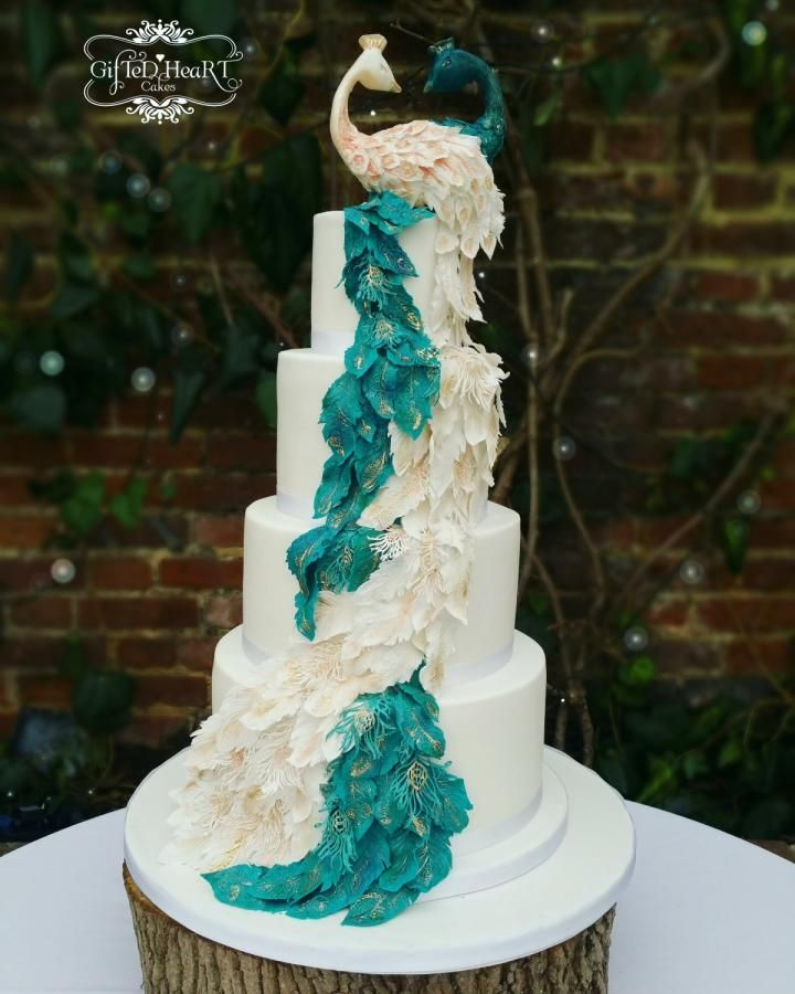 Peacock Feather Cascade Wedoing Cake Entirely Edible Cake By Emma Waddington Gifted Heart Cakes Peacock Wedding Cake Peacock Cake Purple Wedding Cakes