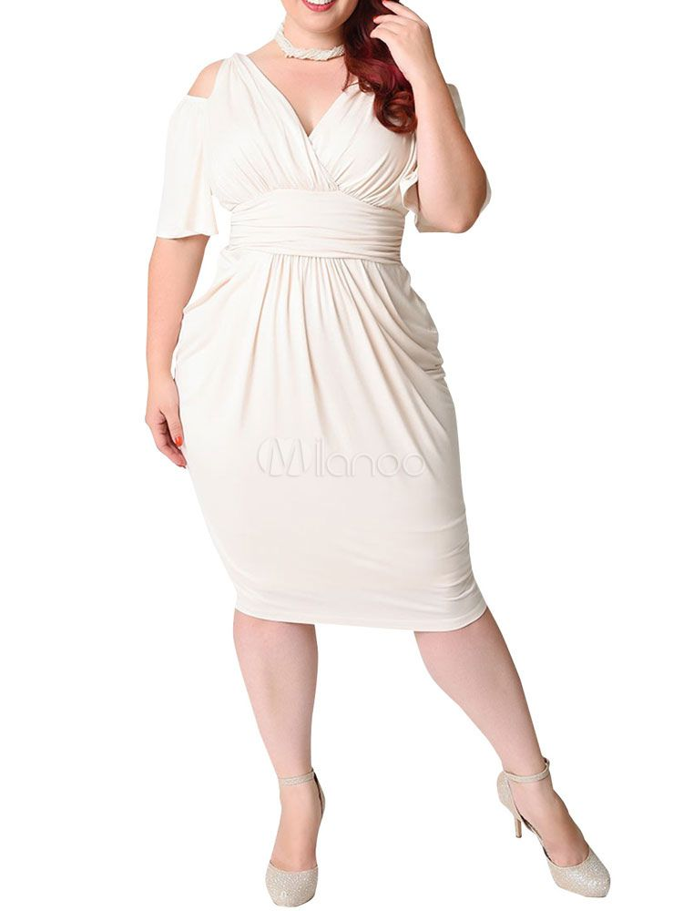 734635657 White Bodycon Dress Plus Size Silk Cold Shoulder V Neck Draped Ruched  Women's Wrap Dress ~ milanoo.com
