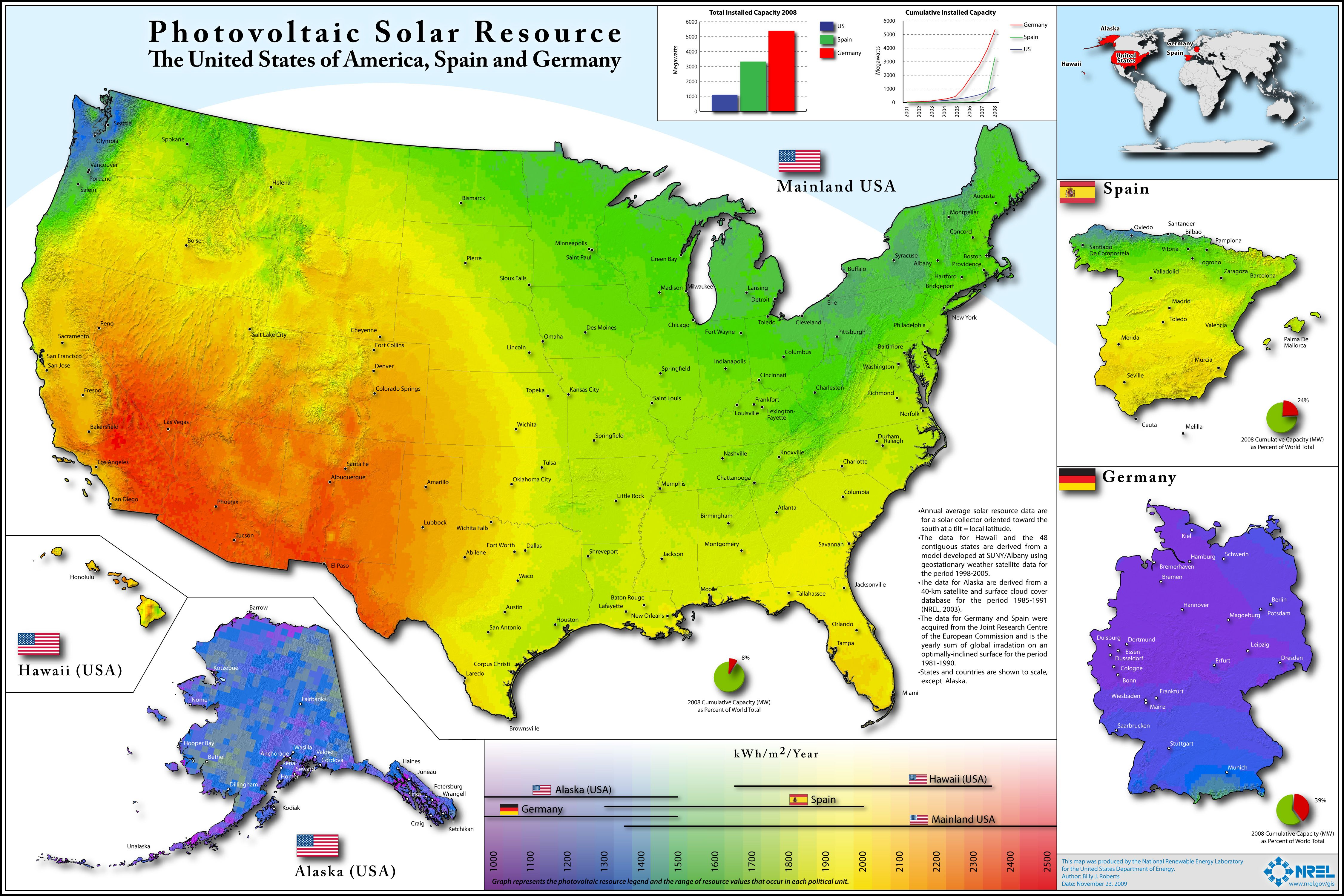 Photovoltaic Solar Resource Of USA Spain And Germany Germany - Solar power map us