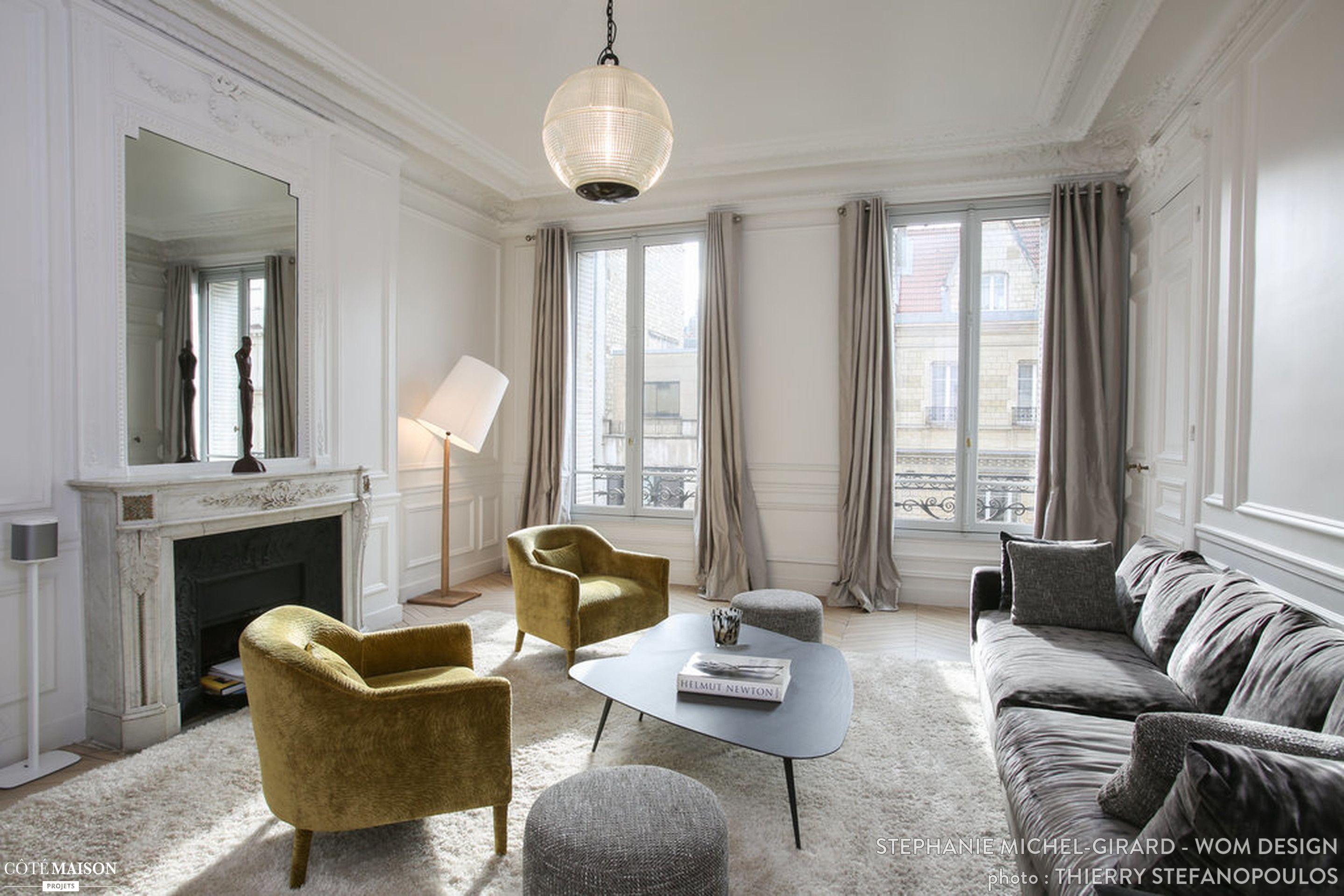 R novation et d coration d 39 un appartement haussmanien de 200 m2 salon wom design st phanie - Salon decoration interieur ...