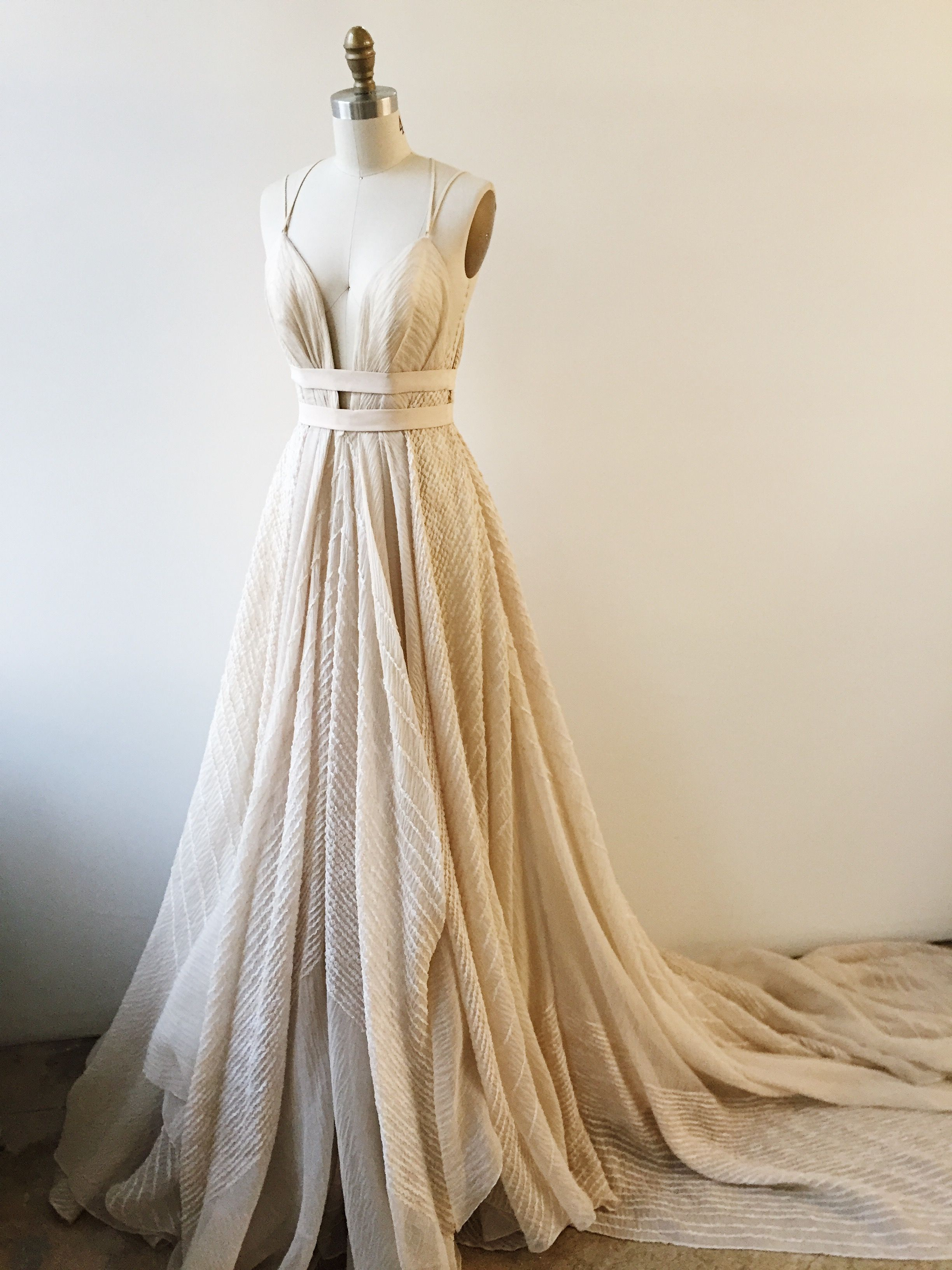 viking wedding dress Linearly banded constrained ballgown with leather macrame strapping Real weddings inspiration shoots Request more information Coralia wedding dress