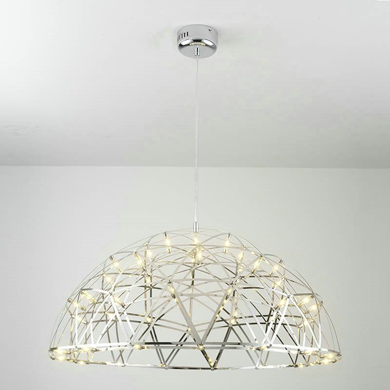 Contemporary Simple Led Pendant Light Hollow Stainless Steel Dome