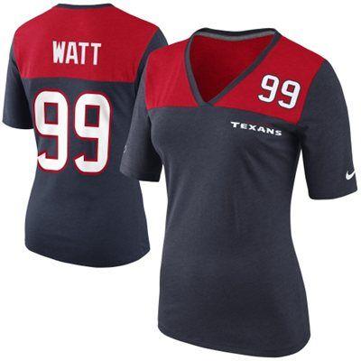 Nike J.J. Watt Houston Texans Ladies My Player Top Tri-Blend V-Neck T-Shirt - Navy Blue/Red