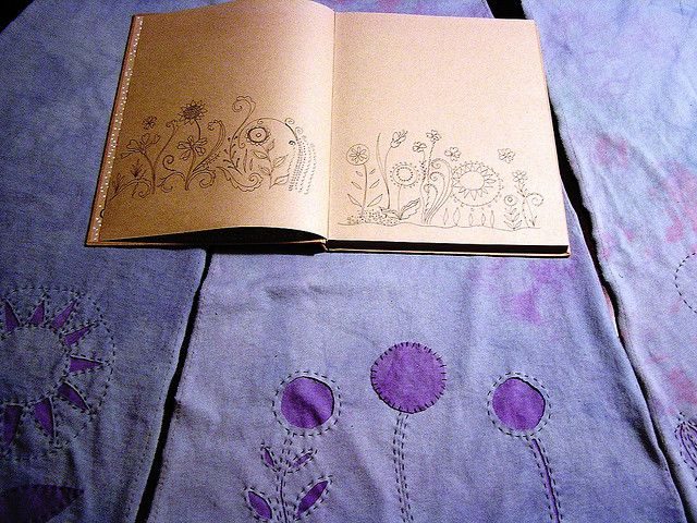 doodling transfered to skirt panels, via Flickr